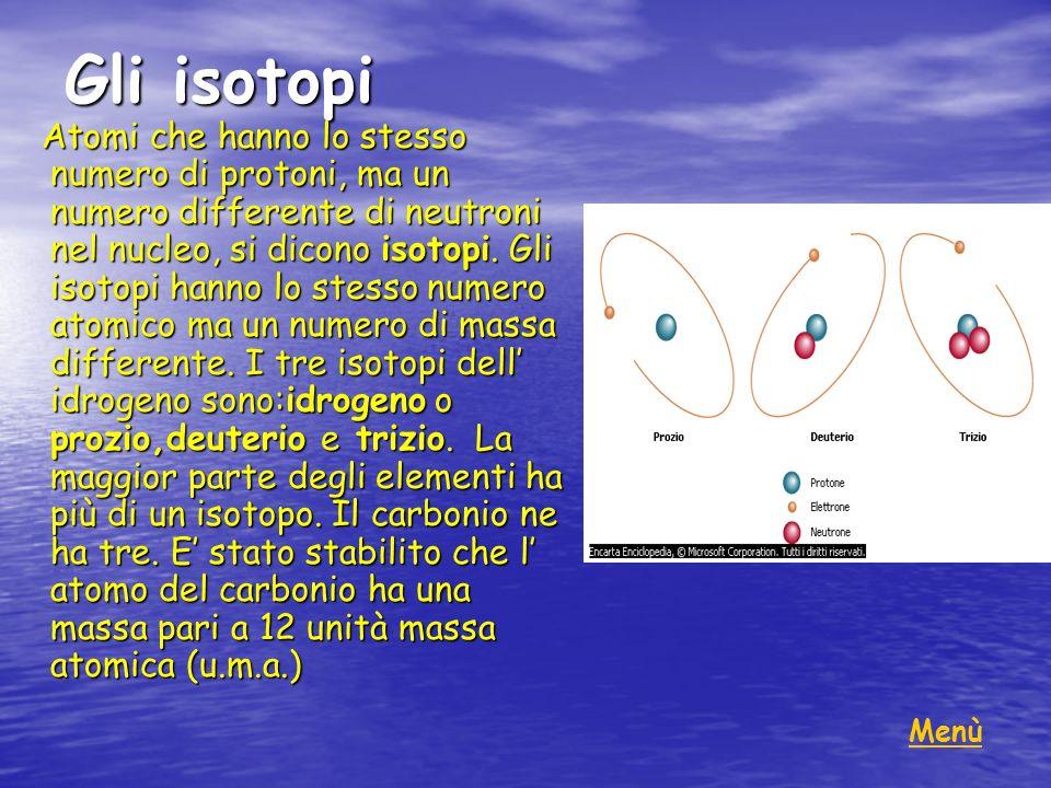 Gli isotopi Atomi che hanno lo stesso numero di protoni, ma un numero differente di neutroni nel nucleo, si dicono isotopi. Gli isotopi hanno lo stess