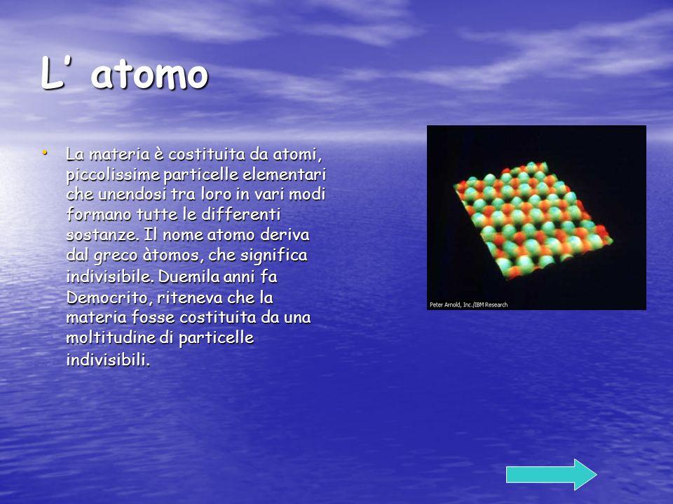 L atomo La materia è costituita da atomi, piccolissime particelle elementari che unendosi tra loro in vari modi formano tutte le differenti sostanze.