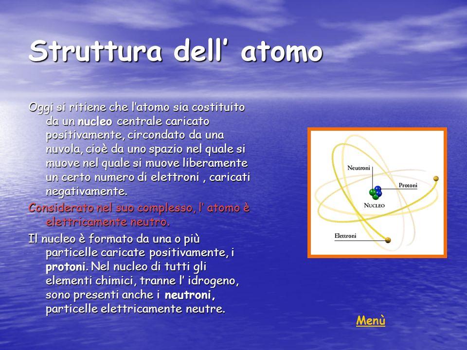 Struttura dell atomo Oggi si ritiene che latomo sia costituito da un nucleo centrale caricato positivamente, circondato da una nuvola, cioè da uno spa