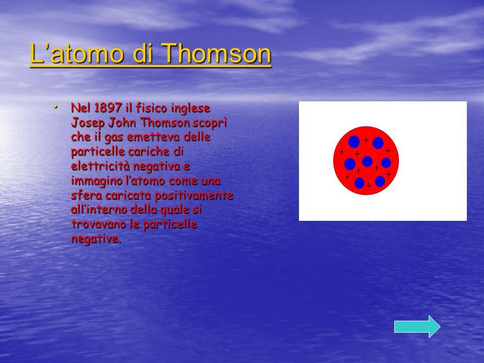 Latomo di Thomson Latomo di Thomson Nel 1897 il fisico inglese Josep John Thomson scoprì che il gas emetteva delle particelle cariche di elettricità n