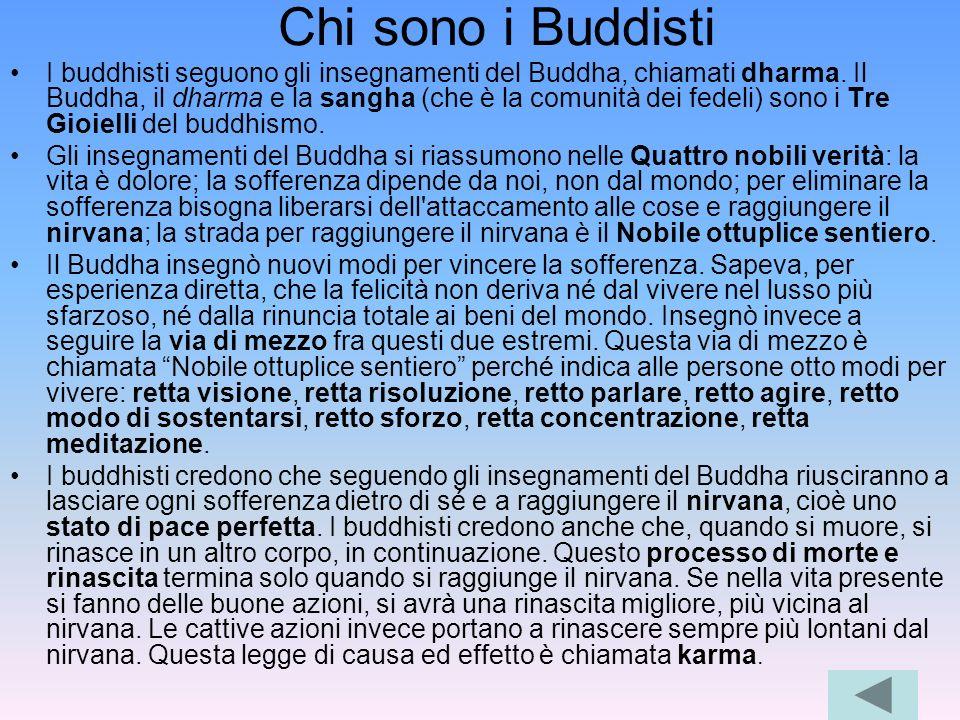 Chi sono i Buddisti I buddhisti seguono gli insegnamenti del Buddha, chiamati dharma. Il Buddha, il dharma e la sangha (che è la comunità dei fedeli)