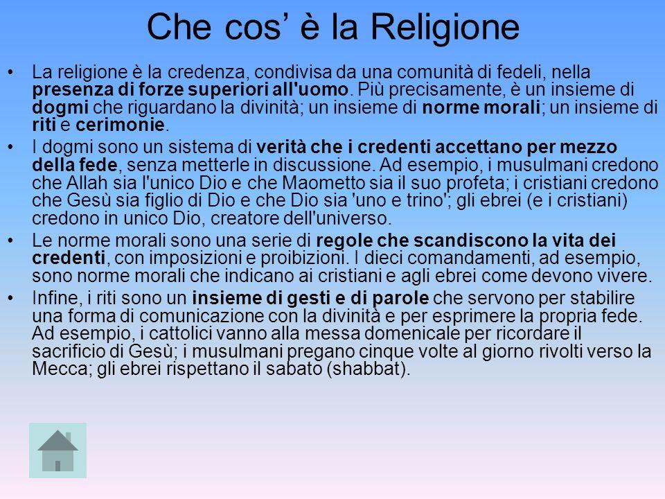 Che cos è la Religione La religione è la credenza, condivisa da una comunità di fedeli, nella presenza di forze superiori all'uomo. Più precisamente,