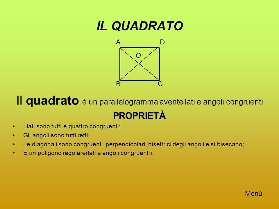 IL QUADRATO Il quadrato è un parallelogramma avente lati e angoli congruenti PROPRIETÀ I lati sono tutti e quattro congruenti; Gli angoli sono tutti r
