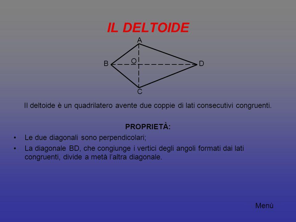 IL DELTOIDE Il deltoide è un quadrilatero avente due coppie di lati consecutivi congruenti. PROPRIETÀ: Le due diagonali sono perpendicolari; La diagon