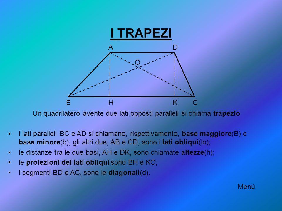 I TRAPEZI Un quadrilatero avente due lati opposti paralleli si chiama trapezio i lati paralleli BC e AD si chiamano, rispettivamente, base maggiore(B)
