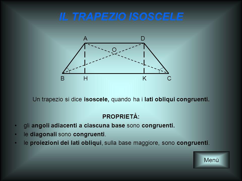 IL TRAPEZIO ISOSCELE Un trapezio si dice isoscele, quando ha i lati obliqui congruenti. PROPRIETÀ: gli angoli adiacenti a ciascuna base sono congruent