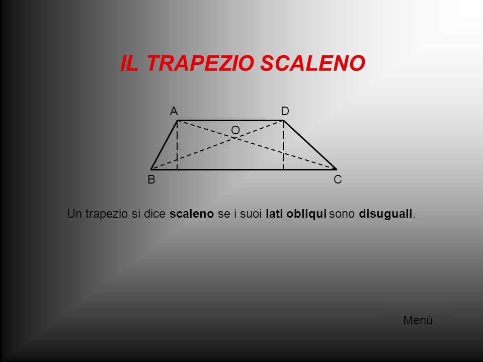 IL TRAPEZIO RETTANGOLO Menù Un trapezio si dice rettangolo se un lato obliquo è perpendicolare alle basi, formando angoli retti.