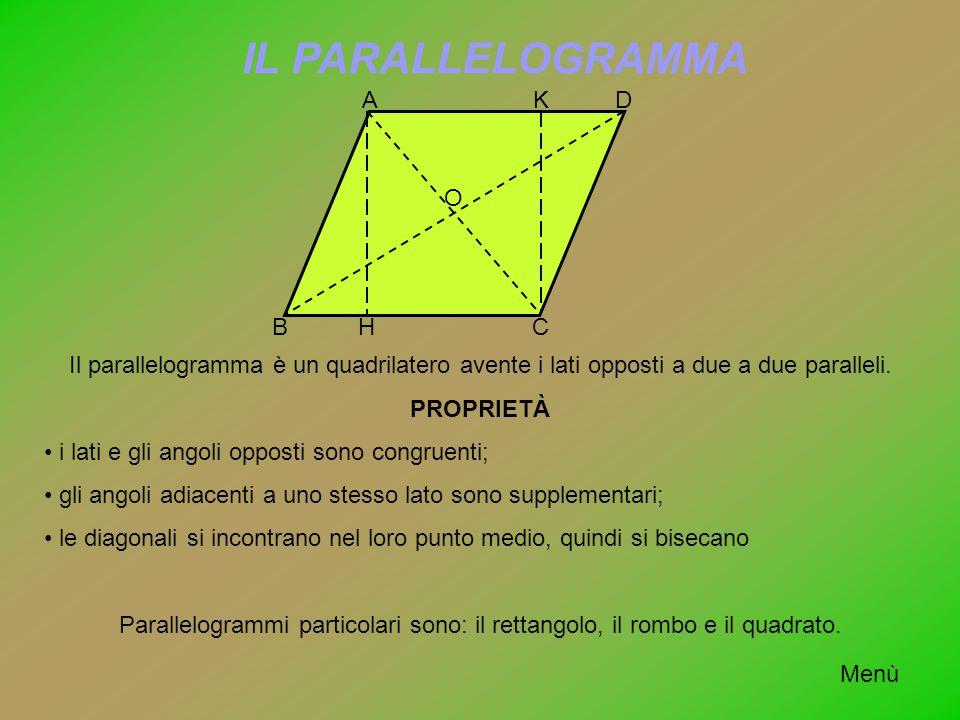 IL PARALLELOGRAMMA BC DA H K O Il parallelogramma è un quadrilatero avente i lati opposti a due a due paralleli. PROPRIETÀ i lati e gli angoli opposti