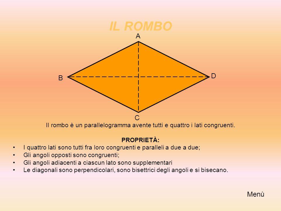 IL ROMBO Il rombo è un parallelogramma avente tutti e quattro i lati congruenti. PROPRIETÀ: I quattro lati sono tutti fra loro congruenti e paralleli