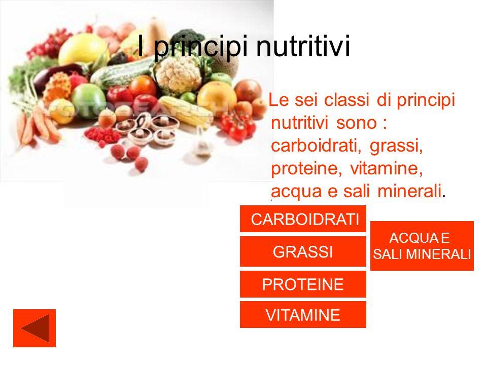 I principi nutritivi Le sei classi di principi nutritivi sono : carboidrati, grassi, proteine, vitamine, acqua e sali minerali. CARBOIDRATI GRASSI PRO