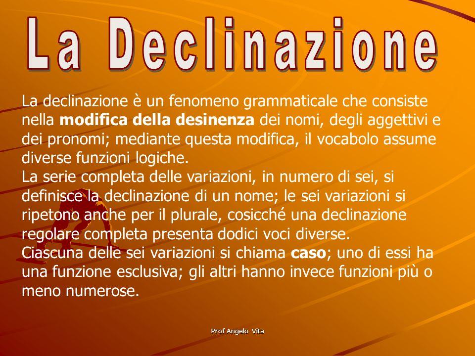 Prof Angelo Vita La declinazione è un fenomeno grammaticale che consiste nella modifica della desinenza dei nomi, degli aggettivi e dei pronomi; media