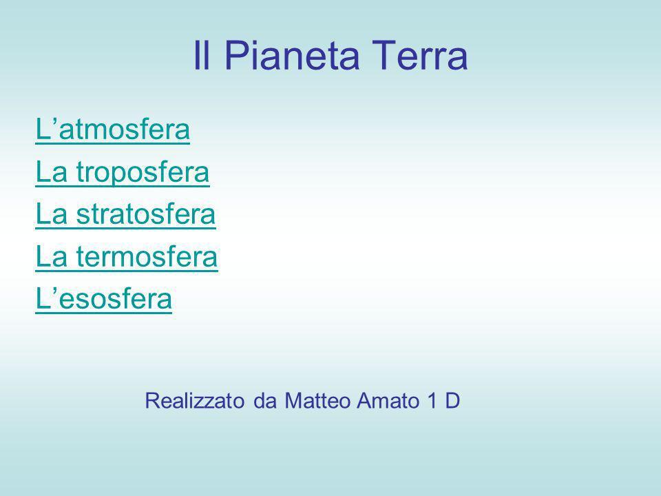 Il Pianeta Terra Latmosfera La troposfera La stratosfera La termosfera Lesosfera Realizzato da Matteo Amato 1 D