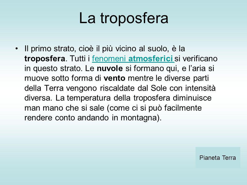 La troposfera Il primo strato, cioè il più vicino al suolo, è la troposfera. Tutti i fenomeni atmosferici si verificano in questo strato. Le nuvole si