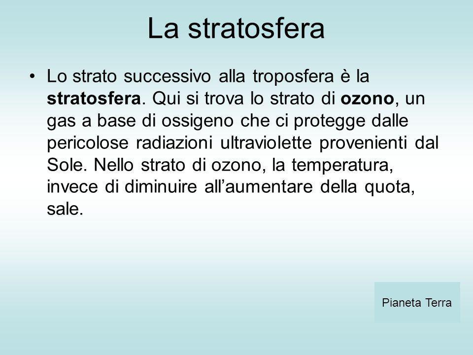 La stratosfera Lo strato successivo alla troposfera è la stratosfera. Qui si trova lo strato di ozono, un gas a base di ossigeno che ci protegge dalle
