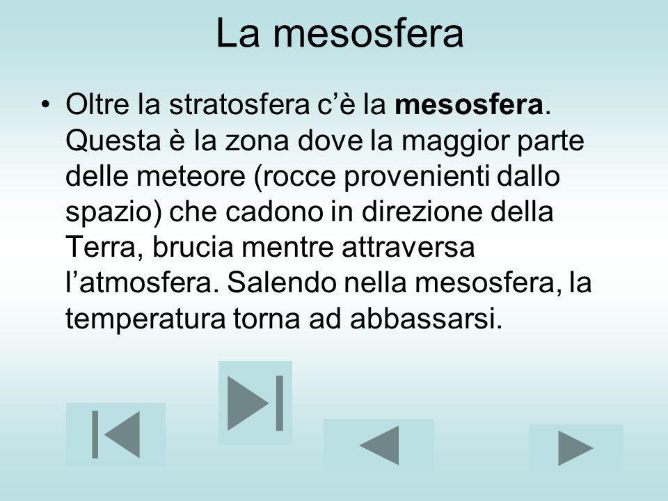 La mesosfera Oltre la stratosfera cè la mesosfera. Questa è la zona dove la maggior parte delle meteore (rocce provenienti dallo spazio) che cadono in