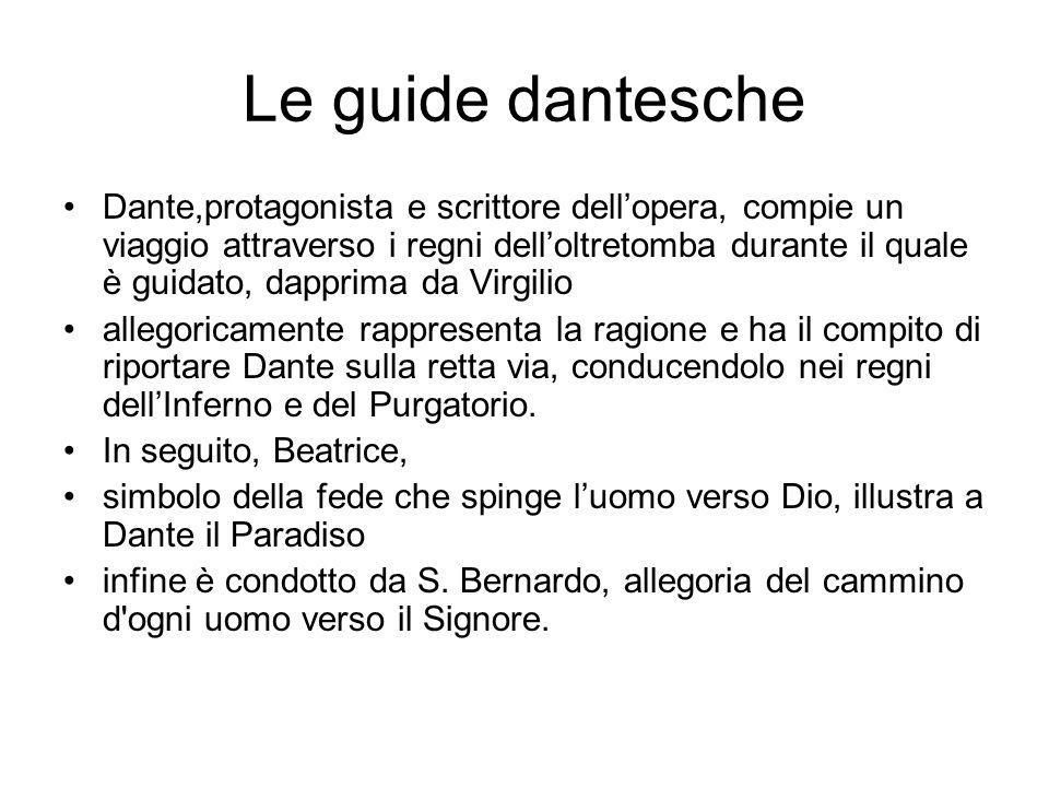Le guide dantesche Dante,protagonista e scrittore dellopera, compie un viaggio attraverso i regni delloltretomba durante il quale è guidato, dapprima