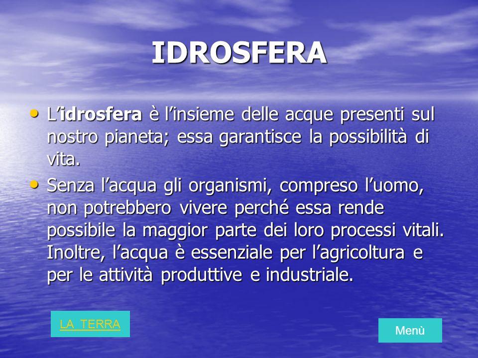 IDROSFERA Lidrosfera è linsieme delle acque presenti sul nostro pianeta; essa garantisce la possibilità di vita. Lidrosfera è linsieme delle acque pre