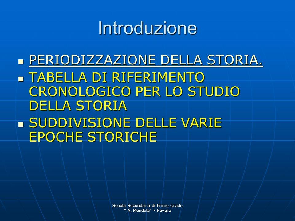 Scuola Secondaria di Primo Grado A.Mendola - Favara Introduzione PERIODIZZAZIONE DELLA STORIA.