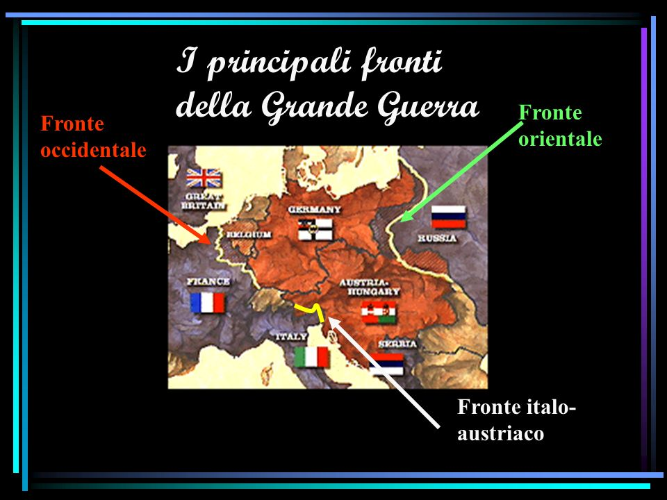 I principali fronti della Grande Guerra Fronte occidentale Fronte orientale Fronte italo- austriaco
