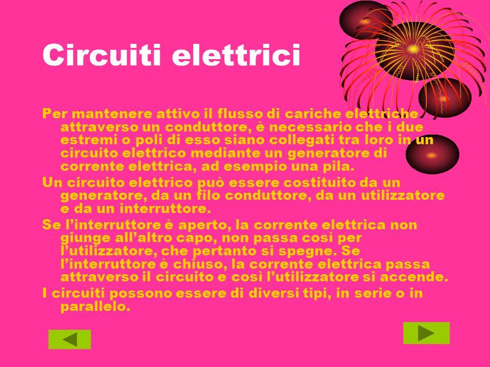 Circuiti elettrici Per mantenere attivo il flusso di cariche elettriche attraverso un conduttore, è necessario che i due estremi o poli di esso siano