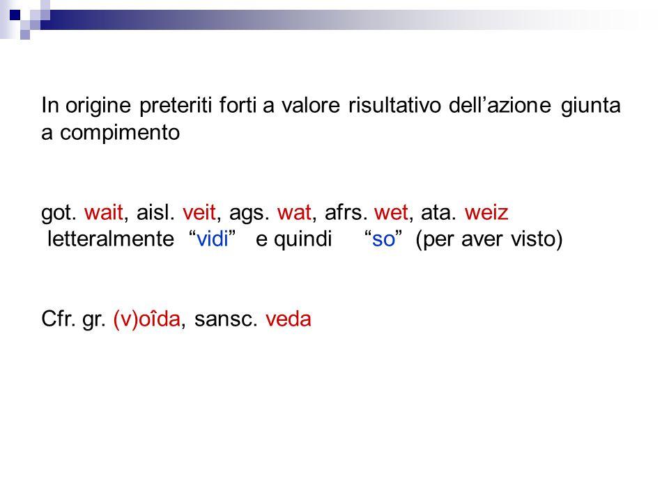 In origine preteriti forti a valore risultativo dellazione giunta a compimento got. wait, aisl. veit, ags. wat, afrs. wet, ata. weiz letteralmente vid