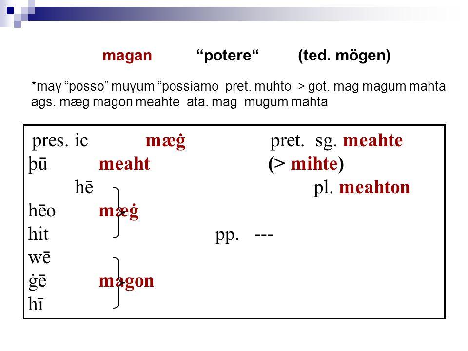pres. ic mæġ pret. sg. meahte þū meaht (> mihte) hē pl. meahton hēo mæġ hit pp. --- wē ġē magon hī magan potere (ted. mögen) *maγ posso muγum possiamo