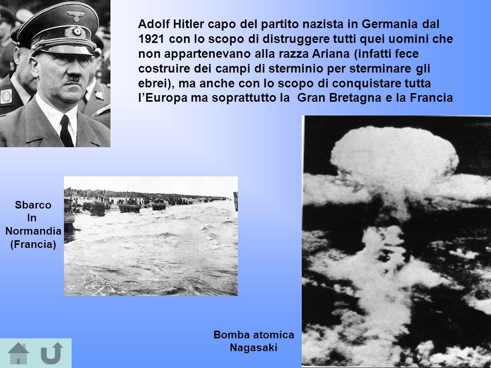 Adolf Hitler capo del partito nazista in Germania dal 1921 con lo scopo di distruggere tutti quei uomini che non appartenevano alla razza Ariana (infa