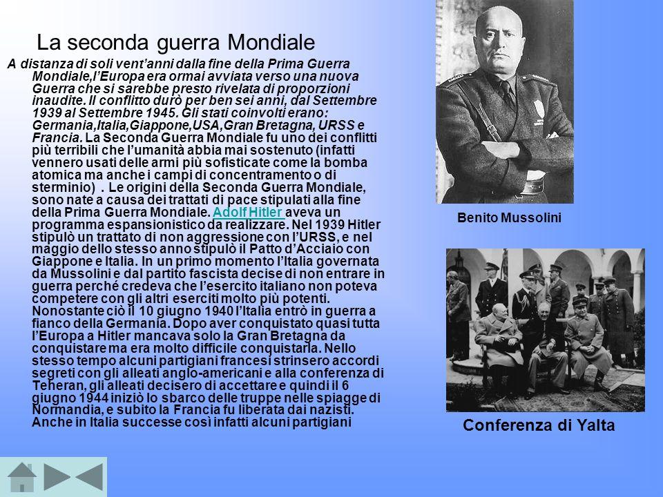 Adolf Hitler capo del partito nazista in Germania dal 1921 con lo scopo di distruggere tutti quei uomini che non appartenevano alla razza Ariana (infatti fece costruire dei campi di sterminio per sterminare gli ebrei), ma anche con lo scopo di conquistare tutta lEuropa ma soprattutto la Gran Bretagna e la Francia Sbarco In Normandia (Francia) Bomba atomica Nagasaki