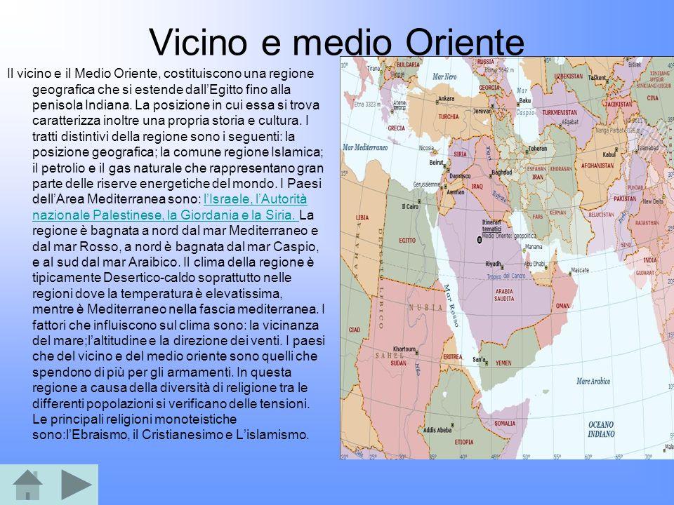 Vicino e medio Oriente Il vicino e il Medio Oriente, costituiscono una regione geografica che si estende dallEgitto fino alla penisola Indiana. La pos