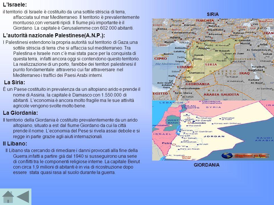 LIsraele: il territorio di Israele è costituito da una sottile striscia di terra, affacciata sul mar Mediterraneo. Il territorio è prevalentemente mon