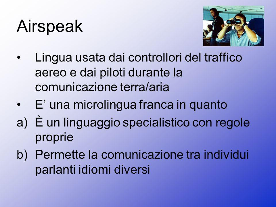 Airspeak Lingua usata dai controllori del traffico aereo e dai piloti durante la comunicazione terra/aria E una microlingua franca in quanto a)È un linguaggio specialistico con regole proprie b)Permette la comunicazione tra individui parlanti idiomi diversi