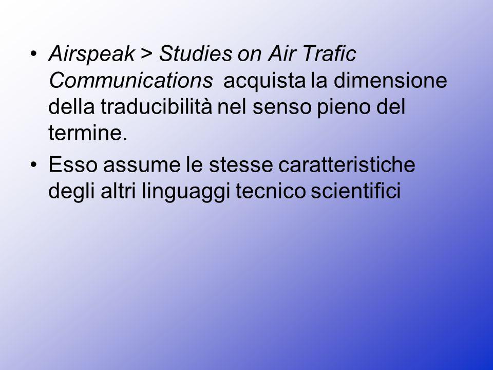 Airspeak > Studies on Air Trafic Communications acquista la dimensione della traducibilità nel senso pieno del termine.