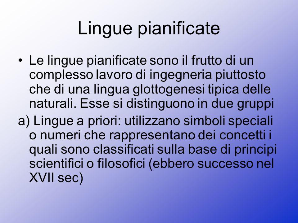 b) Le lingue a posteriori: derivano principalmente da lingue naturali.