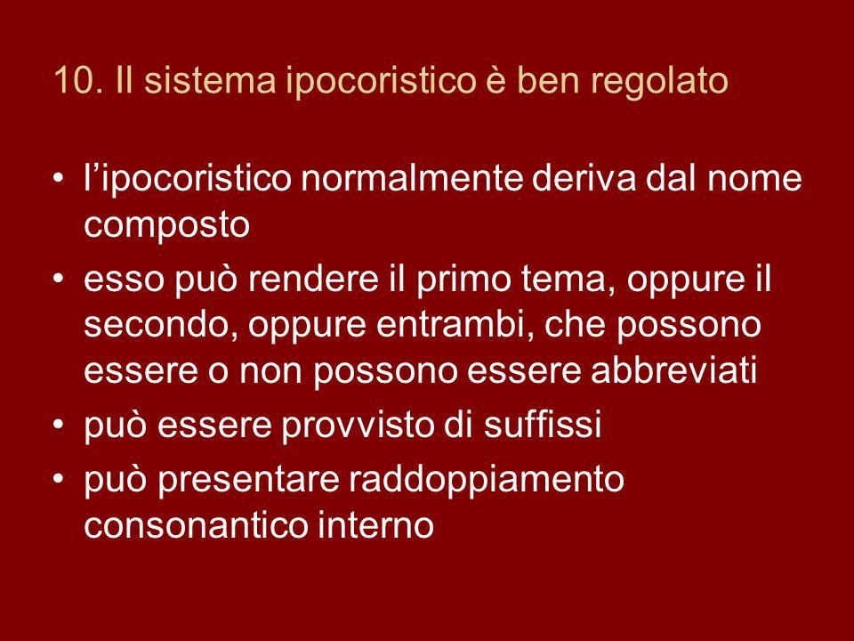 10. Il sistema ipocoristico è ben regolato lipocoristico normalmente deriva dal nome composto esso può rendere il primo tema, oppure il secondo, oppur