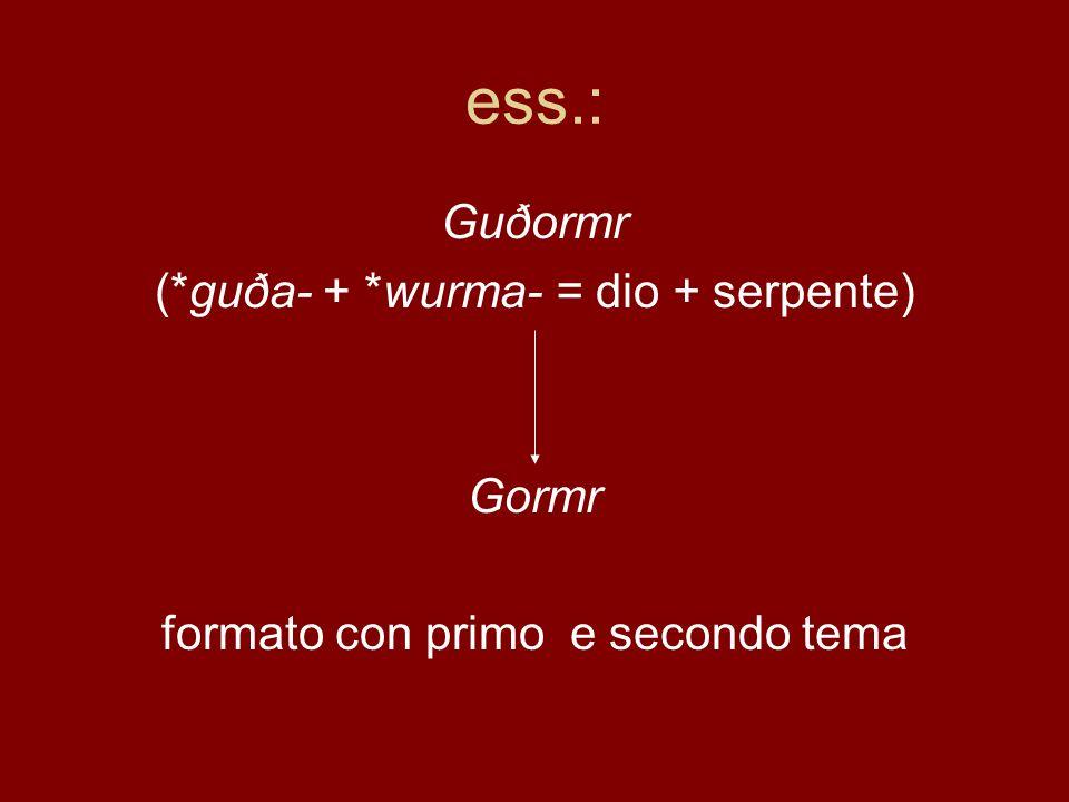 ess.: Guðormr (*guða- + *wurma- = dio + serpente) Gormr formato con primo e secondo tema