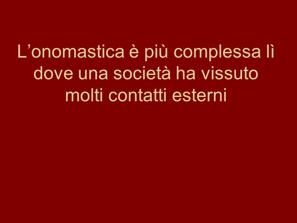 Lonomastica è più complessa lì dove una società ha vissuto molti contatti esterni