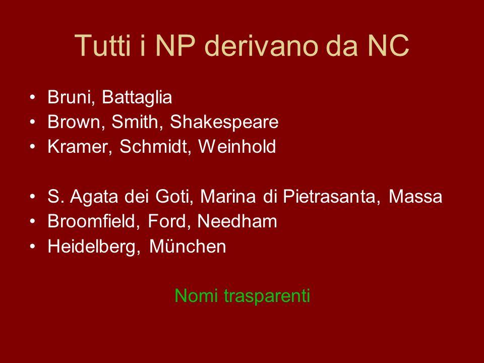 Tutti i NP derivano da NC Bruni, Battaglia Brown, Smith, Shakespeare Kramer, Schmidt, Weinhold S. Agata dei Goti, Marina di Pietrasanta, Massa Broomfi