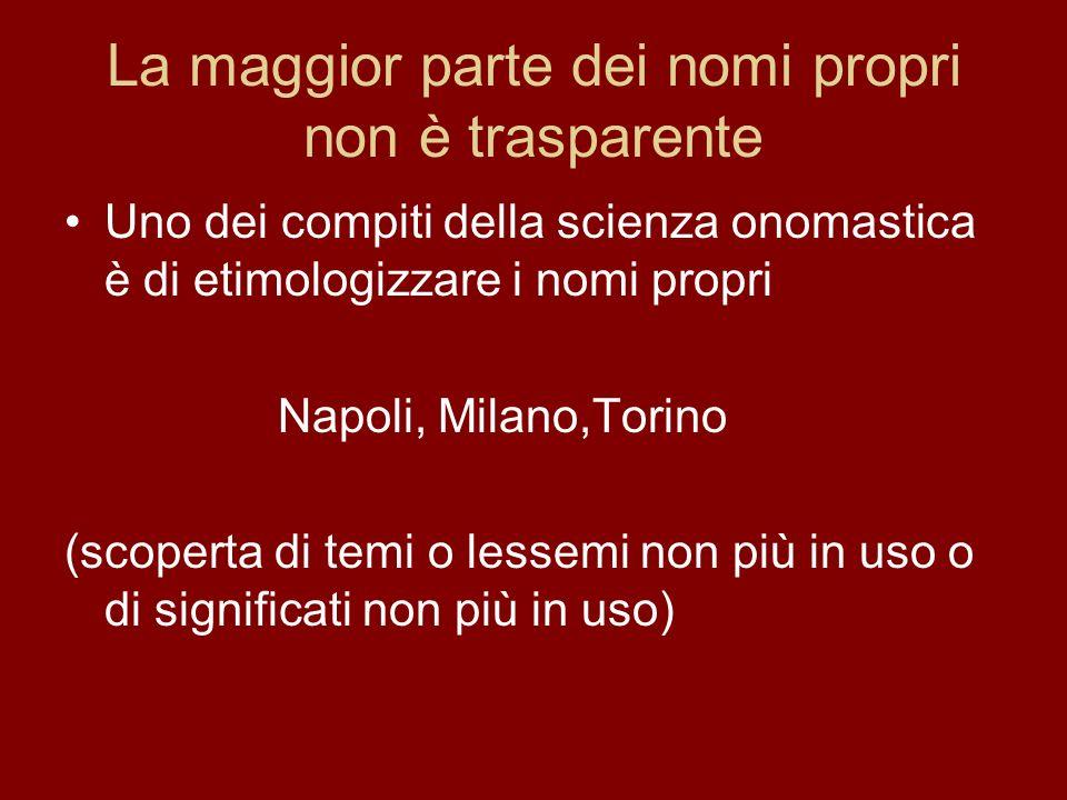 La maggior parte dei nomi propri non è trasparente Uno dei compiti della scienza onomastica è di etimologizzare i nomi propri Napoli, Milano,Torino (s
