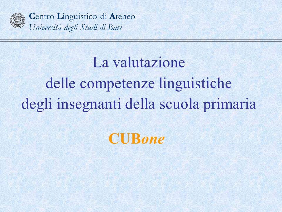 Competenza minima a livello B1 del Quadro Comune Europeo di Riferimento per le lingue OBIETTIVO DI FORMAZIONE Centro Linguistico di Ateneo Università degli Studi di Bari