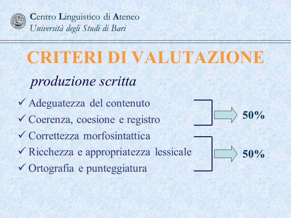 CRITERI DI VALUTAZIONE Adeguatezza del contenuto Coerenza, coesione e registro Correttezza morfosintattica Ricchezza e appropriatezza lessicale Ortogr