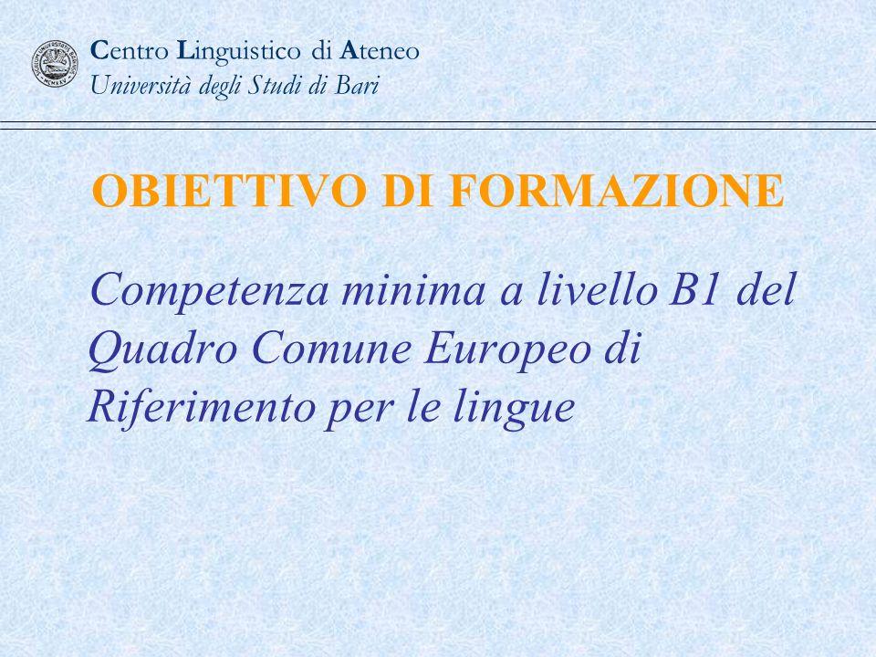 Peso in percentuale di ogni prova Reading20% Writing30% Listening20% Speaking30% Centro Linguistico di Ateneo Università degli Studi di Bari