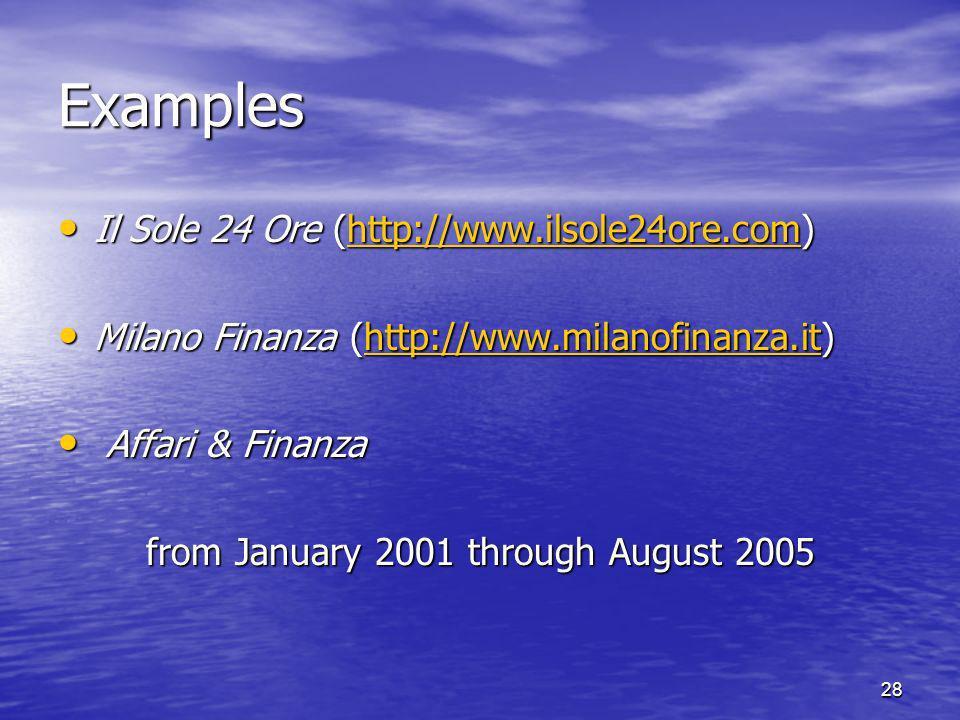 28 Examples Il Sole 24 Ore (http://www.ilsole24ore.com) Il Sole 24 Ore (http://www.ilsole24ore.com)http://www.ilsole24ore.com Milano Finanza (http://w