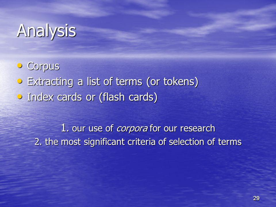 29 Analysis Corpus Corpus Extracting a list of terms (or tokens) Extracting a list of terms (or tokens) Index cards or (flash cards) Index cards or (f