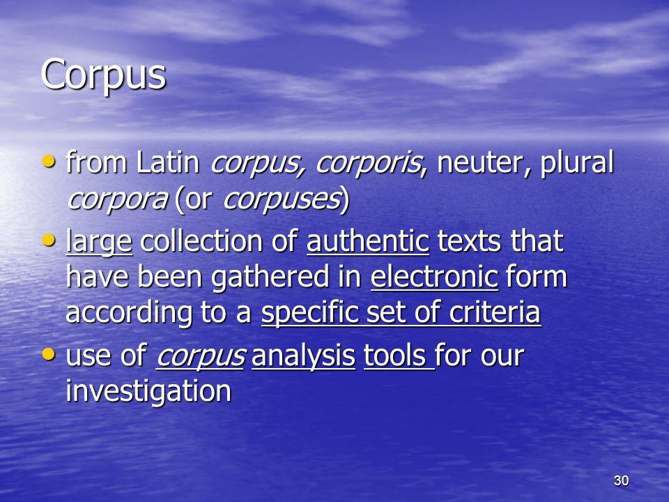 30 Corpus from Latin corpus, corporis, neuter, plural corpora (or corpuses) from Latin corpus, corporis, neuter, plural corpora (or corpuses) large co