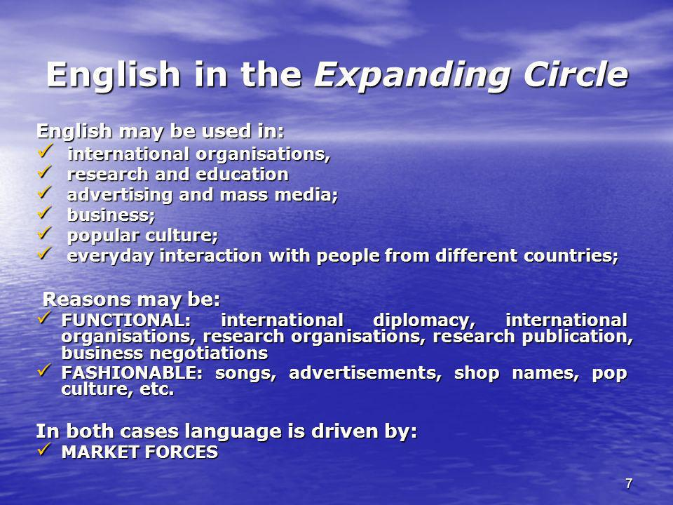 7 English in the Expanding Circle English may be used in: international organisations, international organisations, research and education research an