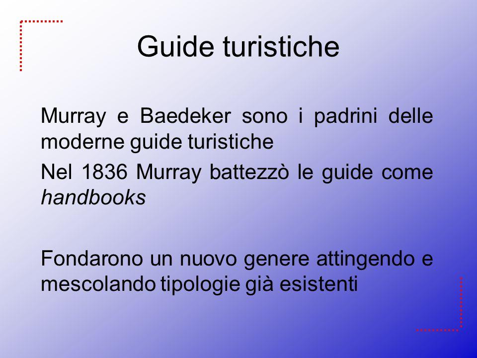 Guide turistiche Murray e Baedeker sono i padrini delle moderne guide turistiche Nel 1836 Murray battezzò le guide come handbooks Fondarono un nuovo g