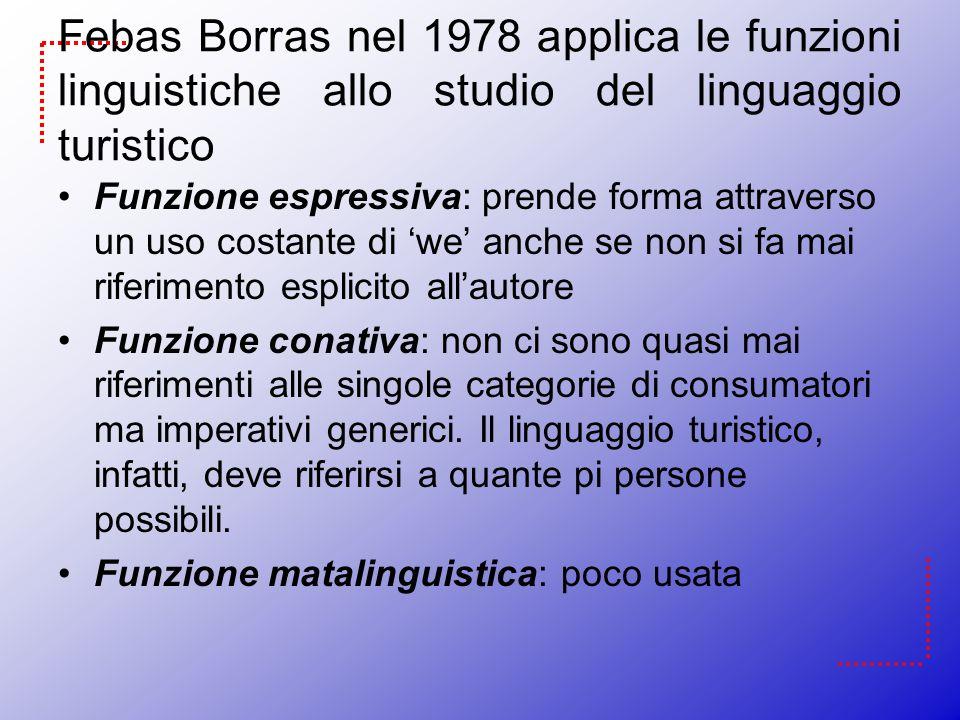 Febas Borras nel 1978 applica le funzioni linguistiche allo studio del linguaggio turistico Funzione espressiva: prende forma attraverso un uso costan