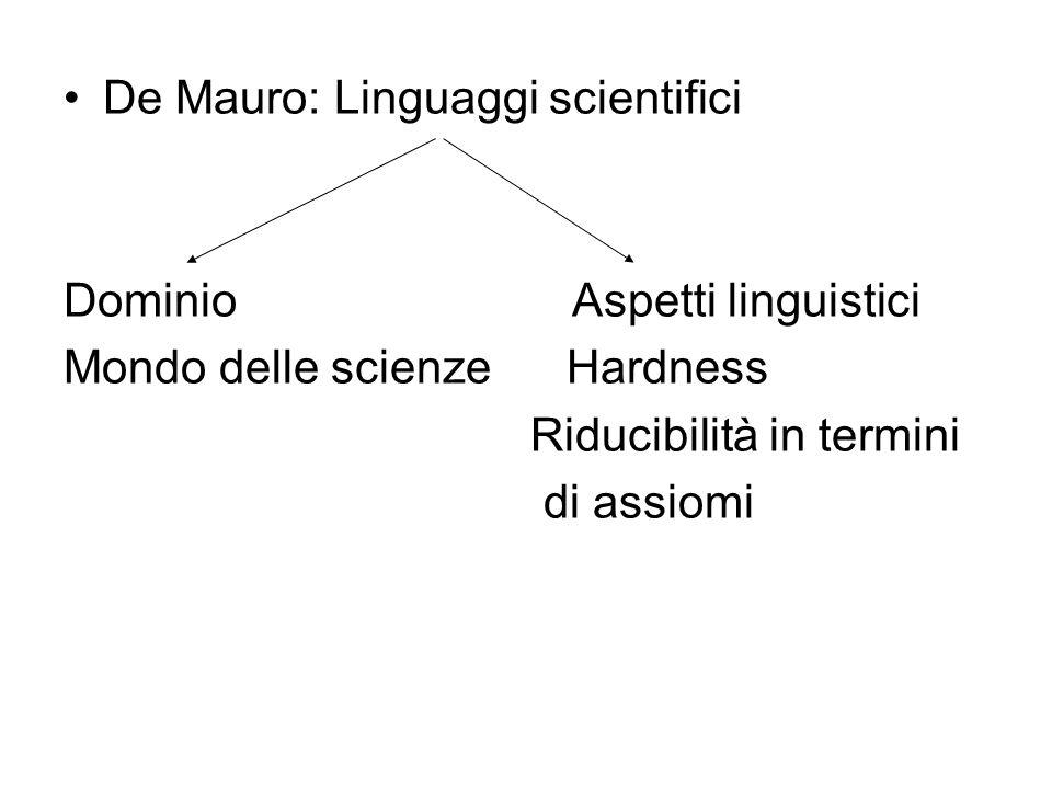 De Mauro: Linguaggi scientifici Dominio Aspetti linguistici Mondo delle scienze Hardness Riducibilità in termini di assiomi
