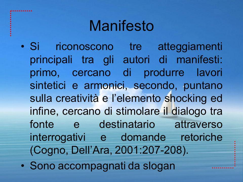 Manifesto Si riconoscono tre atteggiamenti principali tra gli autori di manifesti: primo, cercano di produrre lavori sintetici e armonici, secondo, pu
