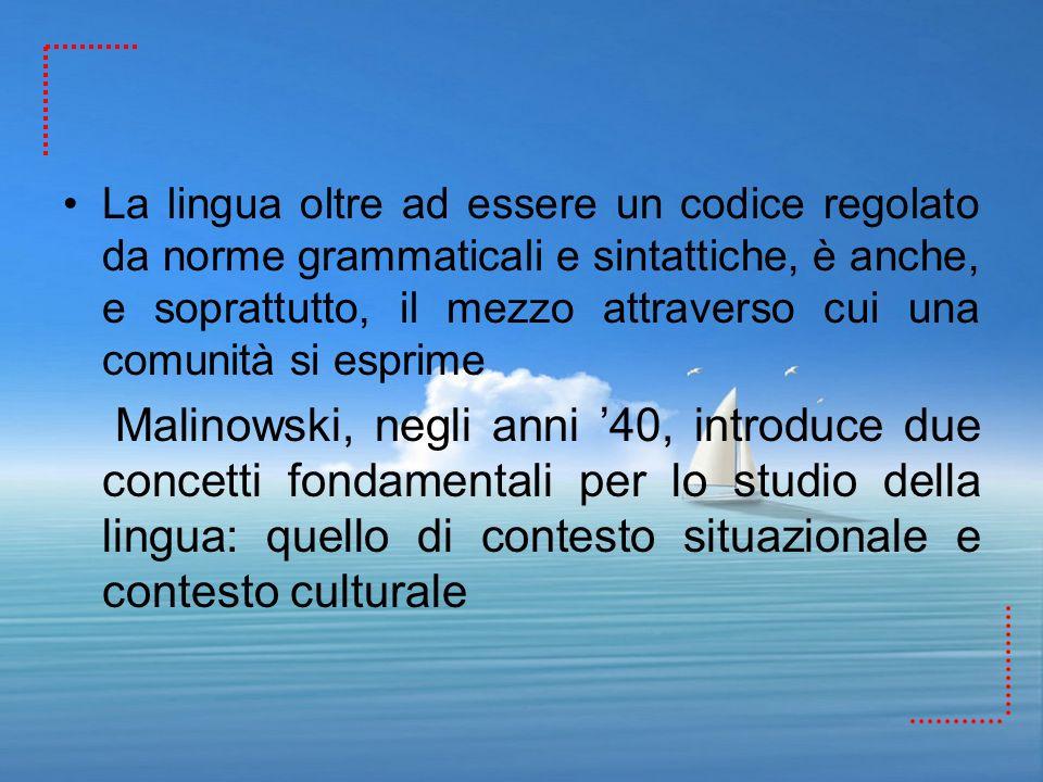 La lingua oltre ad essere un codice regolato da norme grammaticali e sintattiche, è anche, e soprattutto, il mezzo attraverso cui una comunità si espr